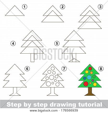 Vector kid educational game to develop drawing skill with easy game level preschool kids education. Funny drawing school. Drawing tutorial for New Year Tree.