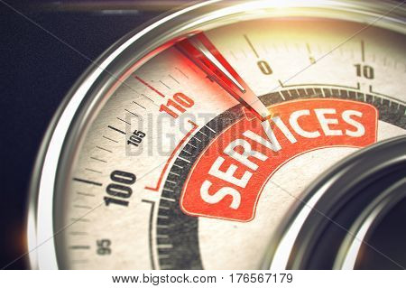 Services - Conceptual Rev Counter with Red Caption on It. Horizontal image. 3D Illustration of a Manometer with Red Needle Pointing the Message Services. Business or Marketing Concept. 3D Render.