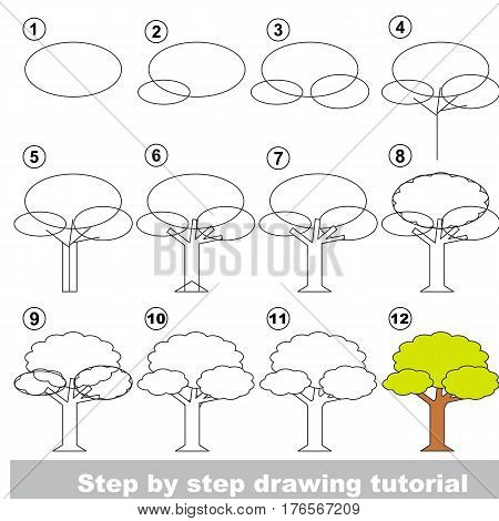 Vector kid educational game to develop drawing skill with easy game level preschool kids education. Funny drawing school. Drawing tutorial for Tree.