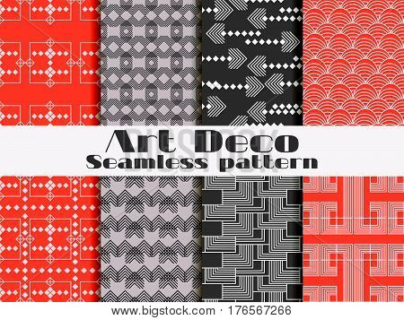 Art Deco Seamless Pattern. Set Retro Backgrounds. Style 1920's, 1930's. Vector Illustration