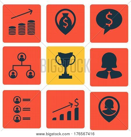 Set Of 9 Human Resources Icons. Includes Tree Structure, Tournament, Money Navigation And Other Symbols. Beautiful Design Elements.