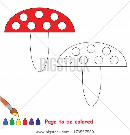 Red mushroom, toadstool to be colored. Coloring book to educate preschool kids with easy kid educational gaming and primary education of simple game level of difficulty.