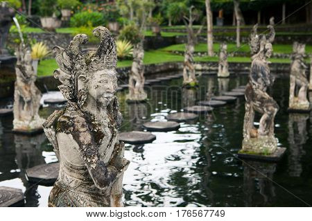 Stone sculpture on entrance door of the Temple in Bali Tirta Gangga Indonesia