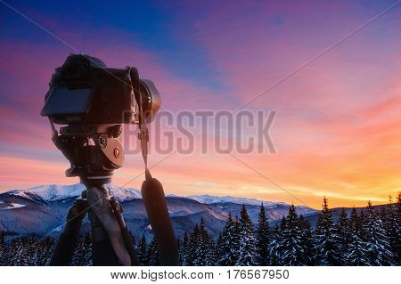Fantastic Winter Landscape And Worn Trail Leading Into The Mountains. Sunset. In Anticipation Of The