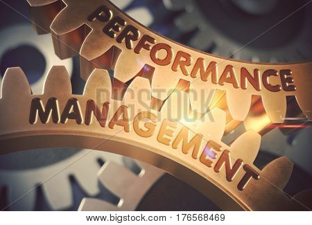 Performance Management on Golden Metallic Cogwheels. Golden Metallic Gears with Performance Management Concept. 3D Rendering.