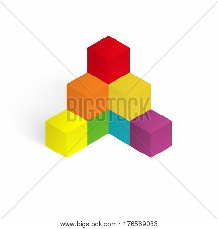 3d illustration color cubes, design with perspective effect
