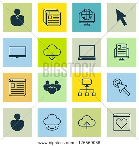 Set Of 16 World Wide Web Icons. Includes Blog Page, Computer Network, Team And Other Symbols. Beautiful Design Elements.
