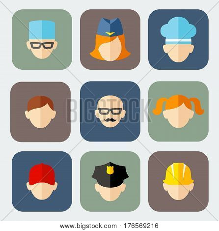 Set of colorful people occupation icons Occupation avatars in flat colorful style