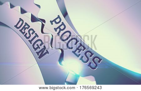 Process Design on the Metallic Cog Gears, Interaction Illustration with Lens Flare. Process Design on the Mechanism of Metal Gears with Glow Effect and Lens Flare - Communication Concept. 3D.