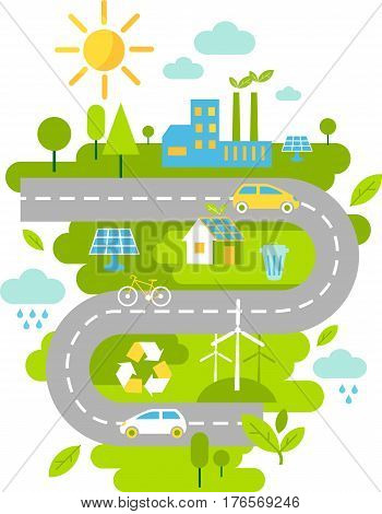 Landscape with ecology concept Landscape with buildings, transport and nature ecology elements in flat style