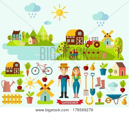 Set of pictures  gardener, garden, mill, barn and landscape with gardening concept. Garden set icons and landscape with a garden, various plants, trees, mill, barn,tractor in flat style
