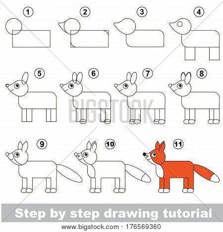 Vector kid educational game to develop drawing skill with easy game level preschool kids education. Funny drawing school. Drawing tutorial for Fox.