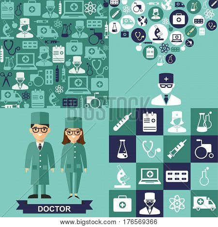 Set of medical icons, seamless background, medical people in flat style  Vector illustration of a doctor, medical icons, seamless background