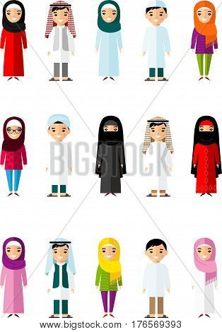 Set of cartoon different arab people in flat style. Illustration of  collection arabic kids in national costumes.