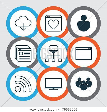 Set Of 9 Web Icons. Includes Local Connection, Followed Website, Human And Other Symbols. Beautiful Design Elements.