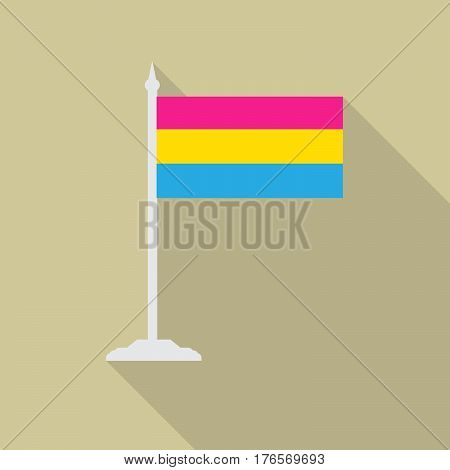 Pansexual pride LGBT flag with flagpole flat icon with long shadow. Vector illustration EPS10.