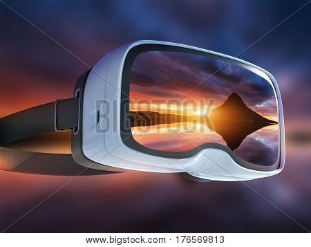Virtual Reality Headset, Double Exposure, The Picturesque Sunset Over Landscapes And Waterfalls. Kir
