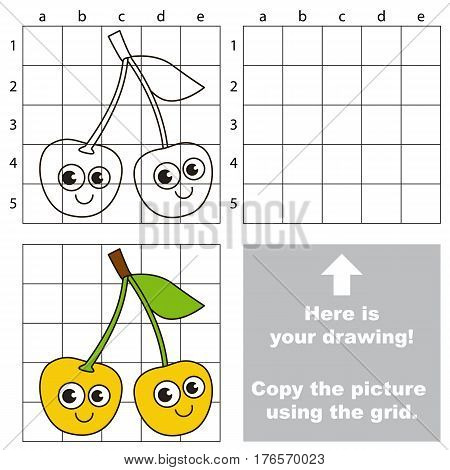 Copy the picture using grid lines. Easy educational kid game. Simple level of difficulty. Copy the Yellow Cherry.