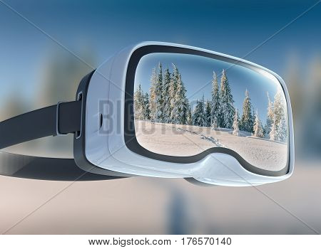 Virtual Reality Headset, Double Exposure. Mysterious Winter Landscape Majestic Mountains In . Magica