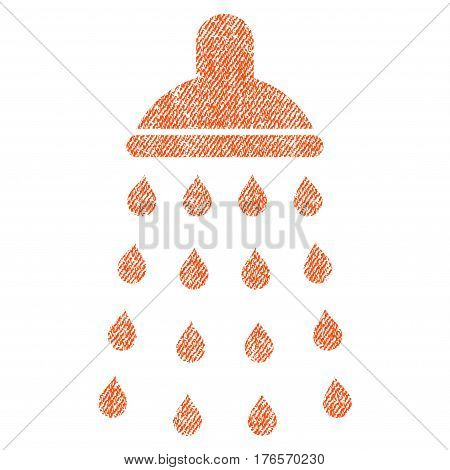 Shower vector textured icon for overlay watermark stamps. Fabric orange vectorized texture. Symbol with dirty design. Rubber seal stamp with fiber textile structure.