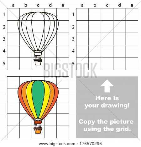 Copy the picture using grid lines. Easy educational game for kids. Simple kid drawing game with Aerostat