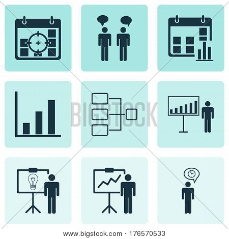 Set Of 9 Administration Icons. Includes System Structure, Presentation Date, Project Presentation And Other Symbols. Beautiful Design Elements.