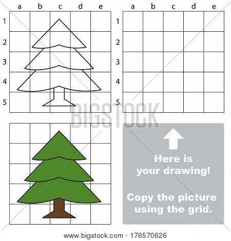 Copy the picture using grid lines, the simple educational game for preschool kids with easy education game level, the kid drawing game with Evergreen tree.