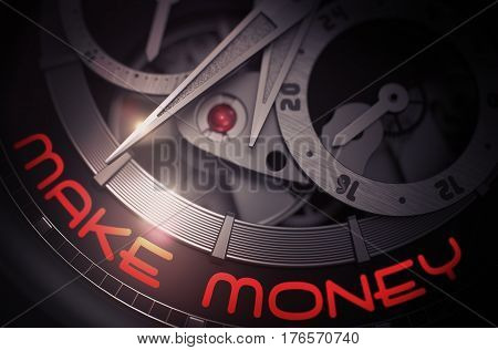 Make Money on Vintage Watch Detail, Chronograph Closeup. Mechanical  Business Concept Illustration with Glow Effect and Lens Flare. 3D Rendering.