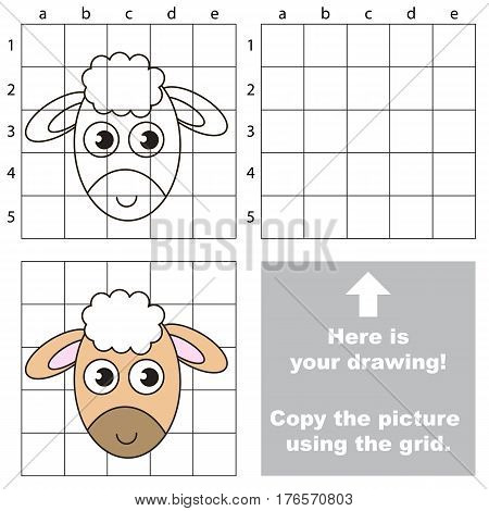 Funny Sheep Head to be duplicated using grid sells. Drawing tutorial to educate preschool kids with easy kid educational gaming and primary education of simple game level of difficulty.