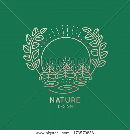 Vector logo of nature elements on green background. Linear icon of landscape with trees and wreath  - business emblems, badge for a travel, agriculture and ecology concepts, health and yoga Center.