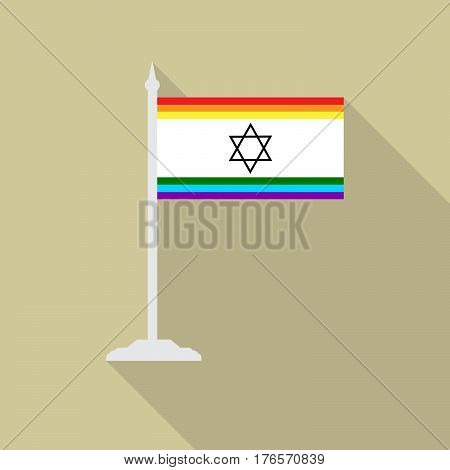 Israeli gay pride flag star of David with flagpole flat icon with long shadowt. LGBT community flag.