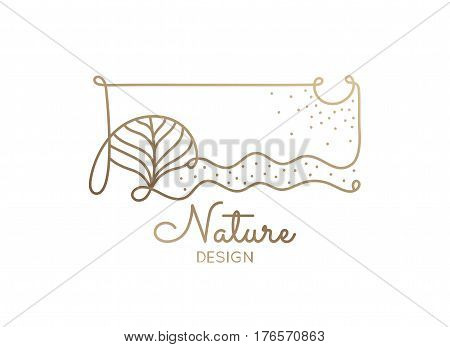 Vector logo of nature elements on white background. Linear icon of landscape with tree, plants - business emblems, badge for a travel, spa and ecology concepts, health and yoga Center.