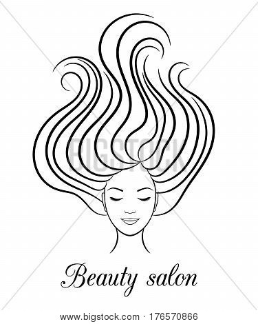 Contour logo for beauty salon with woman with closed eyes and hair in wind