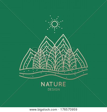 Vector logo of nature elements on green background. Linear icon of landscape with trees, mountains  - business emblems, badge for a travel, tourism and ecology concepts, health and yoga Center.