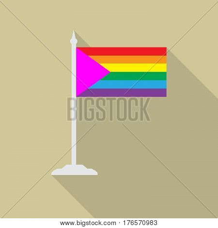LGBT flag with pink triangle with flagpole flat icon with long shadow. Vector illustration EPS10 of a rainbow pride flag.