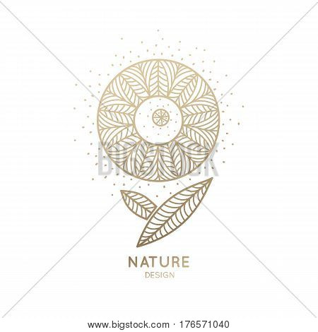 Vector logo of floral element. Abstract round flower with petals. Linear emblem for design of natural products, flower shop, cosmetics and ecology concepts, health, spa and yoga Center.