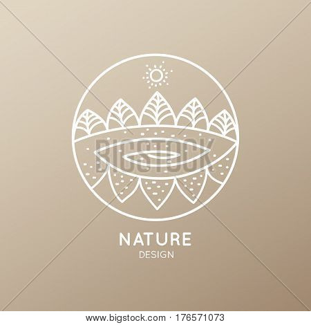 Vector logo of nature elements on golden background. Linear icon of landscape with trees and river - business emblems, badge for a travel, farming and ecology concepts, health and yoga Center.