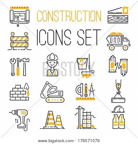 Linear black yellow construction icons set universal web and mobile basic ui elements and worker equipment flat industry tools vector illustration. Build concrete industrial architecture helmet.
