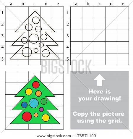New Year Tree to be duplicated using grid sells. Drawing tutorial to educate preschool kids with easy kid educational gaming and primary education of simple game level of difficulty.