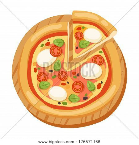 Pizza flat icons isolated on white background. Pizza food silhouette. Piece, slice of pizza. Pizza menu illustration vector collection