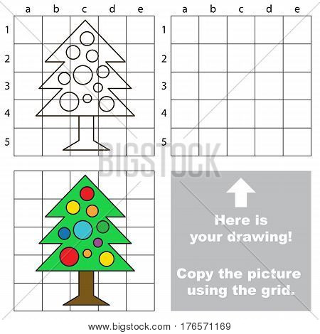 Copy the picture using grid lines, the simple educational game for preschool kids with easy education game level, the kid drawing game with New Year Tree.