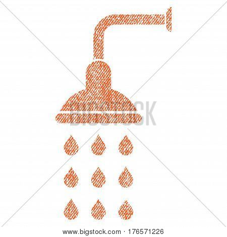 Shower vector textured icon for overlay watermark stamps. Fabric orange vectorized texture. Symbol with dust design. Rubber seal stamp with fiber textile structure.