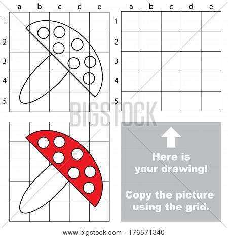 Copy the picture using grid lines, the simple educational game for preschool kids with easy education game level, the kid drawing game with Toadstool.