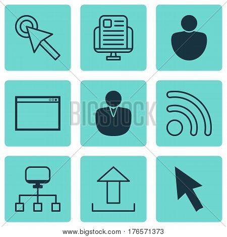 Set Of 9 Online Connection Icons. Includes Send Data, Mouse, Program And Other Symbols. Beautiful Design Elements.