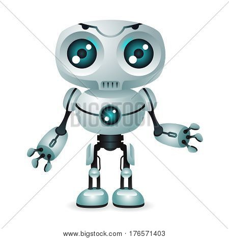 Innovation technology fiction science future cute little 3d robot design vector illustration