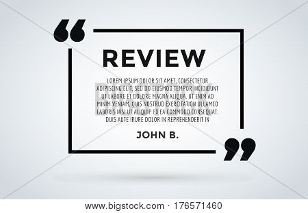 Website review quote citation blank template vector icon. Quote comment template bubble. Shop customer review template. Circle review template, paper sheet, information, text