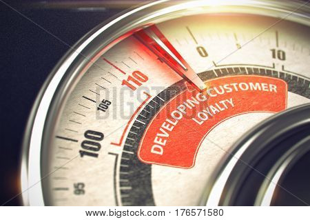 Metallic Scale with Red Punchline Reach the Developing Customer Loyalty. Illustration with Depth of Field Effect. 3D Illustration.