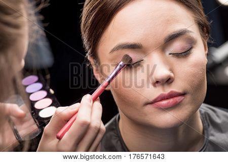 Make-up Artist Applying Eyeshadow