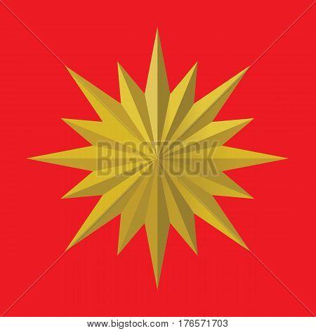 Golden star with multi side. Vector illustration of Golden medal