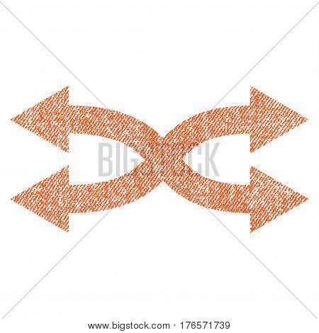 Shuffle Arrows Horizontal vector textured icon for overlay watermark stamps. Fabric orange vectorized texture. Symbol with unclean design. Rubber seal stamp with fiber textile structure.